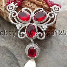 """K062306 19"""" 4 Strands Red Jade Necklace White Keshi Pearl CZ Pave Pendant"""