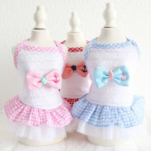 Navy Grid Bow Pet Clothes Cotton Dog Dress Cat Clothing For Dog Rabbit Female