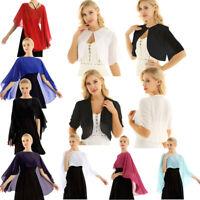 Women Short Sleeve Sheer Open Front Chiffon Bolero Shrug Shawl Cape Crop Top