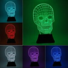 7 Color Change 3D Illuminated LED Light Desk Skull Illusion Micro USB Lamp Night