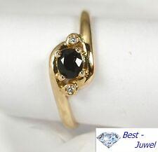 Ring in 585 Gold mit Safir und Diamant