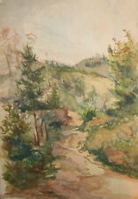 Vintage watercolor drawing impressionist forest landscape  FREE SHIPPING