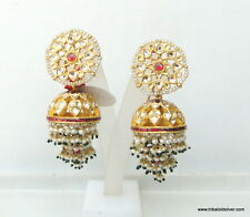 VINTAGE ANTIQUE 22K GOLD DIAMOND POLKI KUNDAN EARRING PAIR JHUMKI DANGLE