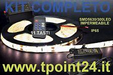 KIT COMPLETO STRISCIA LED SMD5630 300LED BIANCA CALDA + TELECOMANDO A 11 TASTI