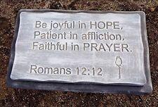 """Romans 12:12  bench top mold 1/8th  plastic concrete mould 22"""" x 13.5"""" x 2.25"""""""