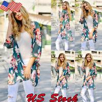 New Women Floral Loose Kimono Cardigan Boho Summer Casual Coat Jacket Blouses