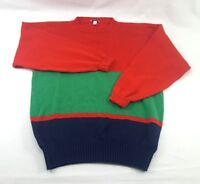Mens Cable Car Clothier Sweater XXL Red Striped Woven Cotton 90s Vtg