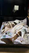Karen Millen FN167 Floral Print Blue Multi Sandal High Heel Dress Shoes UK 6 39