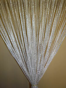 Silver Glitter Fringe String Curtain White New FREE SHIPPING