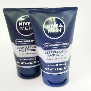 Nivea Men Maximum Hydration Deep Cleaning Face Scrub 4.4 oz Tube, Pack of 2 NEW