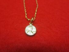 14 Kt Gold Plated 10 1/2 1Mm Nugget Anklet With Mini Lucky Penny- Usa Seller