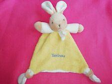 Doudou triangle Lapin écru beige Takinou violet jaune verso tissus coton blanc