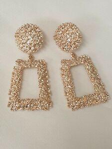Statement Door Knocker Style Rectangle Geometric Large Drop Earrings Rose Gold