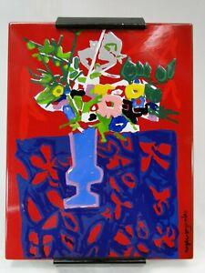 """Roger BEZOMBES  """"Vase fleuri"""" PLAQUE EMAILLEE numérotée datée 1970"""