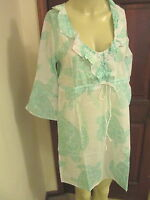 Bell Sleeve Green & White Tunic Cover-Up by Mud Pie, Cotton, Size Small, NWT