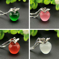 Women 925 Silver Plated Pink Apple Pendant Necklace Choker Chain Jewelry 8 Color