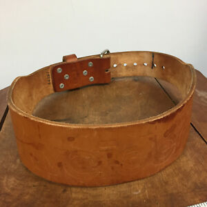 Vintage Leather Weight Bodybuilding Boxing Training Sports Lifting Belt Weider