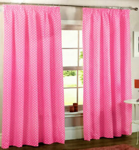 """NEW PINK & WHITE POLKA DOT CURTAINS PENCIL PLEAT 66x72"""" LINED COTTON 168 x 183cm"""
