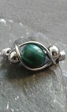 Handmade Natural Malachite Gemstone Silver Wire Wrapped Ring ANY SIZE