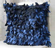 Cut leaves Feather PILLOW CASES CUSHION COVERS navy blue 45 cm