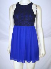 Bongo Blue Black Sleeveless Lined Lace Dress Juniors Size 3 S Small