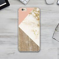 Gold Wooden Geometry Marble iPhone XS XR Cover Case iPhone 5 6 7 8 Plus XS Max X