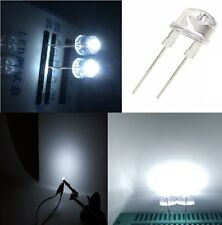 10 diodi led 8 mm bianco freddo STRAW HAT 170° alta luminosità + resistenze