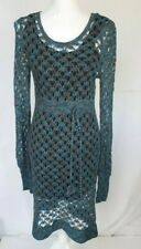 Anthropologie Blue Crochet Sweater Dress Large
