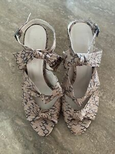 Witchery Heel 39 - Leather Snake Print Knot Detail Heel - Size 39
