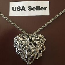 New Women's Heart Pendant Chain Necklace 925 Sterling Silver