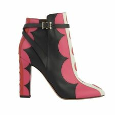53069 auth VALENTINO black pink red leather POLKA DOT Ankle Boots Shoes 41