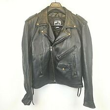 California Creations Leather Biker Motorcycle Jacket Size 46 XL pre-owned A17218