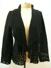 CARLISLE BLACK WOOL CARDIGAN WRAP SWEATER size 12 / L NEW RETAIL $465
