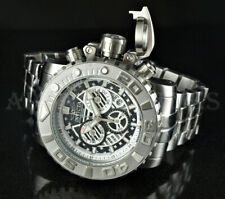 Invicta 70mm Sea Hunter GEN II Swiss Movt Chronograph 316L Silver SS Watch NEW