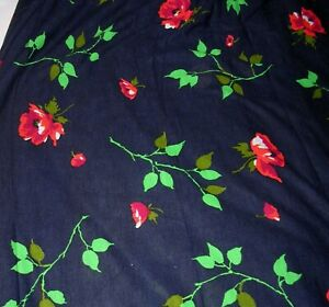 622F Vintage Acrylic Knit DRESS Fabric RED ROSES on DARK BLUE 60 x 4-3/4 YARDS