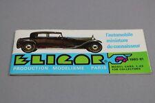ZC836 Eligor Vehicule Miniature 1/43 Catalogue du connaisseur 1980 - 1981