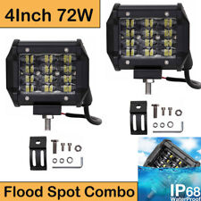 2x 4 Inch 72W Quad Row LED Combo Work Light Bar Spot Flood For Jeep Truck SUV 5""