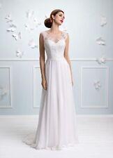 Chiffon A-line Boat Neck Wedding Dresses