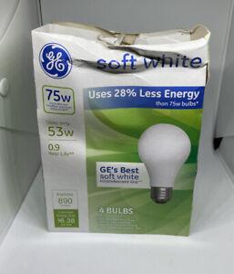 12 GE 53-Watt / 75-Watt Output Energy-Efficient Soft White A19 Bulbs 4- 4 Packs
