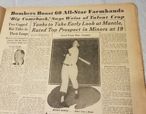 """4 Issues 1951 Sporting News Baseball Newspaper """"Early Look Mickey Mantle Age 19"""""""