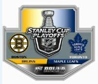 2019 NHL PLAYOFFS PIN 1ST ROUND DUEL BOSTON BRUINS TORONTO MAPLE LEAFS PUCK