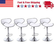 Set of 4 Bar Stools White Pu Leather Modern Hydraulic Swivel Dinning Pub Chairs