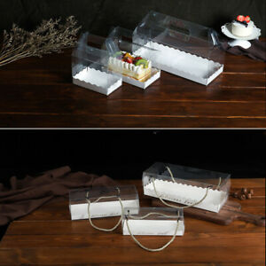 5x Clear Plastic Cake Box Swiss Roll Portable Packaging Towel Gift Storage Case