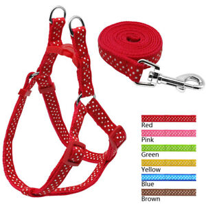 Nylon Dog Harness and Lead set Dot Printed Adjustable Step-In Puppy Walking Vest
