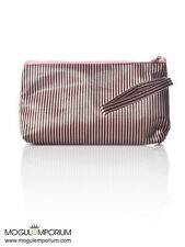 2018 Pink & Chocolate Stripe Portable Cosmetic Fashion Bag MakeUp Toiletry Case