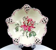 """ROSENTHAL CHINA LARGE GREY & RED ROSE PIERCED MOLIERE 9"""" TRI FOOTED BOWL 1901-33"""