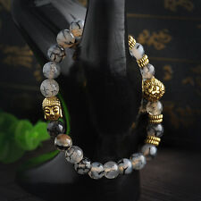 Men's Black Lava Rock Natural Beads Lion Buddha Head Agate Beaded Bracelet 2017