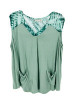 LOGO by Lori Goldstein Plus Green Knit Top W/ Printed Chiffon Shoulder Detail 1X