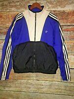 Vintage 90's Adidas track Jacket Nylon coat Windbreaker Blue Black Stripe Mens L