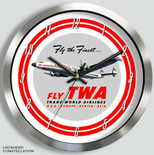 TWA TRANS-WORLD AIRLINES LOCKHEED CONSTELLATION WALL CLOCK METAL 1950s